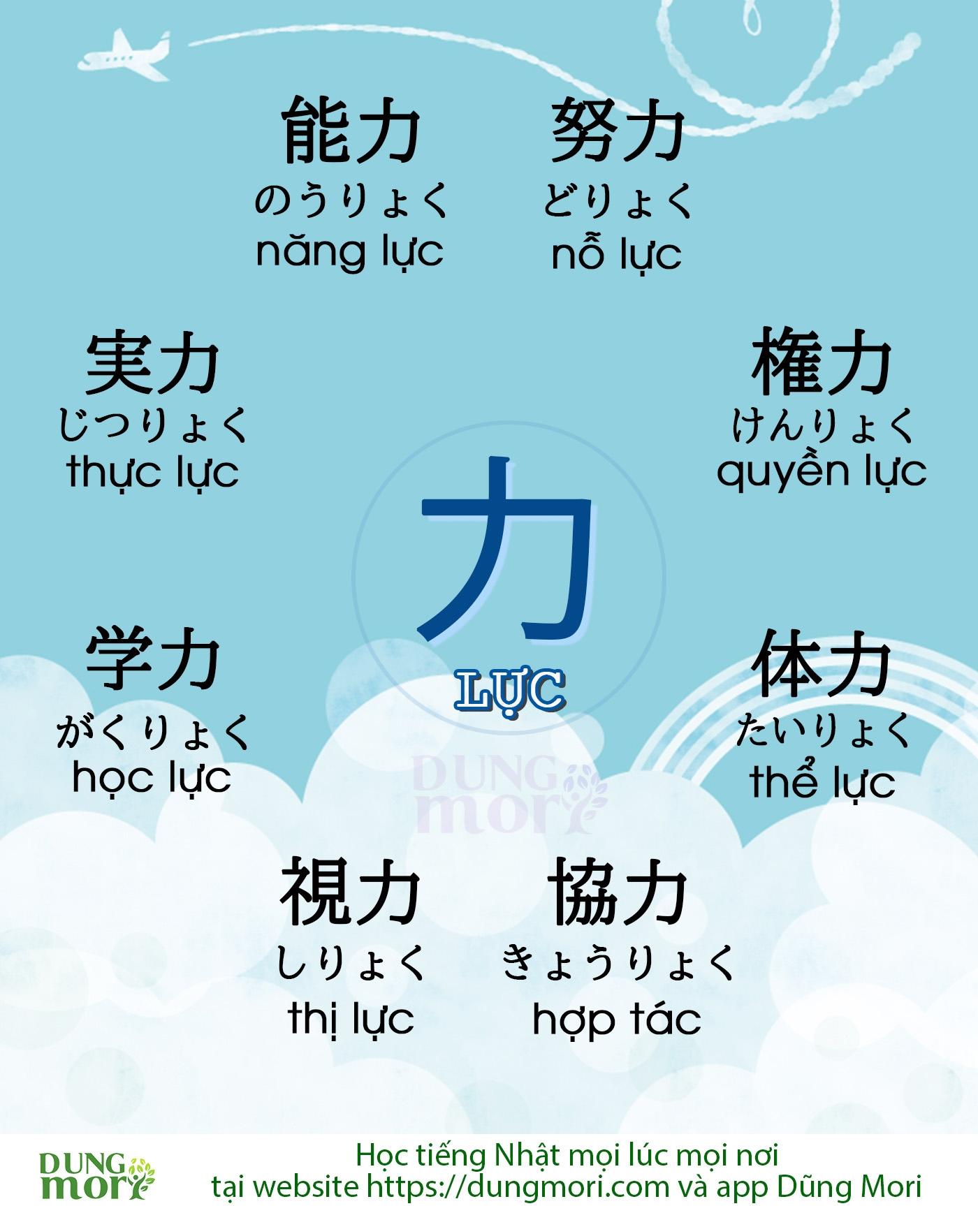 Một số từ vựng tiếng Nhật liên quan đến Chữ Lực 力
